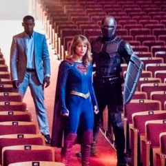"Supergirl -- ""Event Horizon"" -- Image Number: SPG501a_0027b.jpg -- Pictured (L-R): David Harewood as Hank Henshaw/JÕonn JÕonzz, Melissa Benoist as Kara/Supergirl and Mehcad Brooks as James Olsen/Guardian -- Photo: Dean Buscher/The CW -- © 2019 The CW Network, LLC. All Rights Reserved."